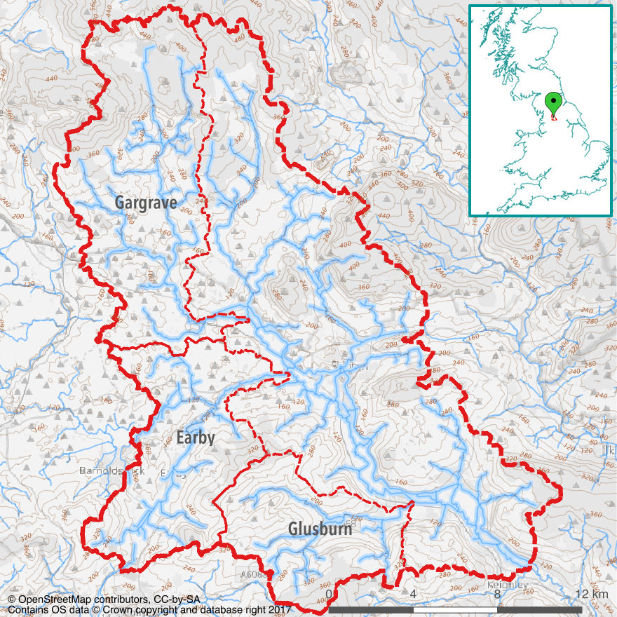Three Sub-catchments in the Upper Aire